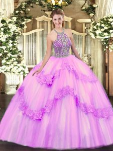 Halter Top Sleeveless Lace Up Quinceanera Gown Lilac Tulle