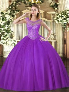 Eggplant Purple Scoop Lace Up Beading Ball Gown Prom Dress Sleeveless
