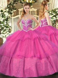 Ball Gowns 15 Quinceanera Dress Hot Pink Sweetheart Tulle Sleeveless Floor Length Lace Up