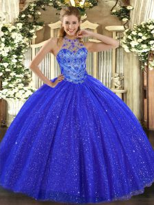 Customized Beading and Embroidery Quinceanera Gown Royal Blue Lace Up Sleeveless Floor Length