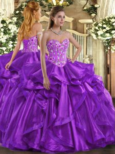 Eggplant Purple Ball Gowns Organza Sweetheart Sleeveless Embroidery and Ruffles Floor Length Lace Up Quinceanera Gown