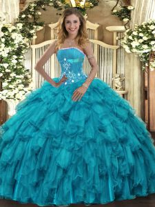 Flare Teal Quinceanera Gown Military Ball and Sweet 16 and Quinceanera with Beading and Ruffles Strapless Sleeveless Lace Up