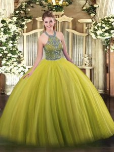 Spectacular Olive Green Sleeveless Tulle Lace Up 15 Quinceanera Dress for Military Ball and Sweet 16 and Quinceanera