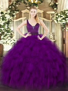 Enchanting Straps Sleeveless Sweet 16 Dress Floor Length Beading and Ruffles Purple Organza