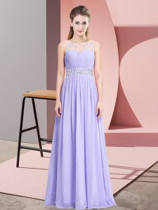 Shining Lavender Scoop Lace Up Beading Prom Gown Sleeveless