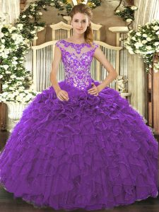 High Class Floor Length Purple Quinceanera Gowns Scoop Cap Sleeves Lace Up
