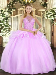 Floor Length Lilac Quinceanera Gown Halter Top Sleeveless Lace Up