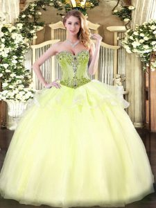 High Quality Light Yellow Sweetheart Neckline Beading Quinceanera Gowns Sleeveless Lace Up