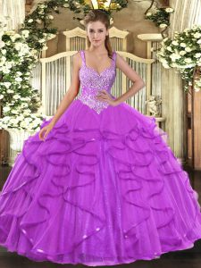 Tulle Straps Sleeveless Lace Up Beading and Ruffles Quinceanera Gown in Eggplant Purple