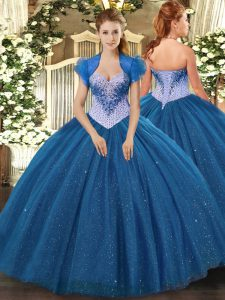 Fabulous Navy Blue Tulle Lace Up Sweetheart Sleeveless Floor Length Quinceanera Gown Beading and Sequins
