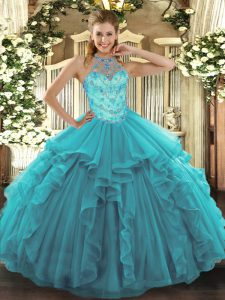 Flare Sleeveless Organza Floor Length Lace Up Quinceanera Gown in Teal with Beading and Embroidery and Ruffles
