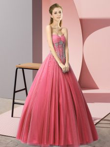 Coral Red A-line Beading Prom Dress Lace Up Tulle Sleeveless Floor Length