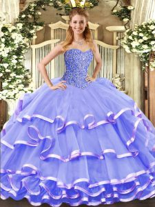 Lavender Sleeveless Floor Length Beading and Ruffled Layers Lace Up 15th Birthday Dress