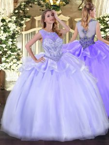New Arrival Beading Vestidos de Quinceanera Lavender Zipper Sleeveless Floor Length