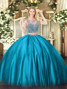 Baby Blue Two Pieces Beading Vestidos de Quinceanera Lace Up Satin Sleeveless Floor Length