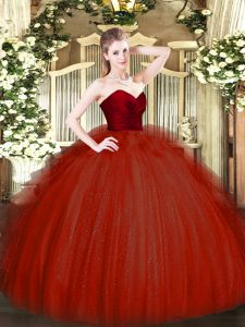 Ruffles Quinceanera Gown Wine Red Zipper Sleeveless Floor Length