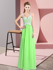 Chiffon Zipper Sleeveless Floor Length Lace
