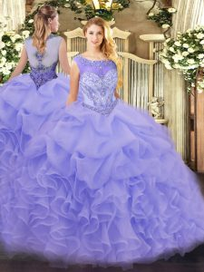 Scoop Sleeveless Organza Sweet 16 Dresses Beading and Ruffles Zipper