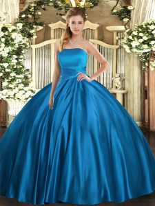 Great Blue Satin Lace Up Strapless Sleeveless Floor Length Sweet 16 Dress Ruching