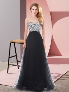 Black Empire Organza and Chiffon and Tulle Sweetheart Sleeveless Beading Floor Length Lace Up Evening Dress