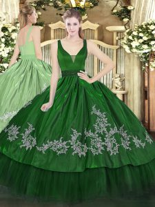 Custom Fit Dark Green Zipper Quinceanera Dress Beading and Embroidery Sleeveless Floor Length
