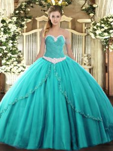 Best Tulle Sweetheart Sleeveless Brush Train Lace Up Appliques Sweet 16 Dresses in Turquoise
