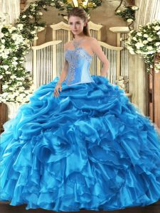 Charming Sleeveless Floor Length Beading and Ruffles and Pick Ups Lace Up 15 Quinceanera Dress with Baby Blue