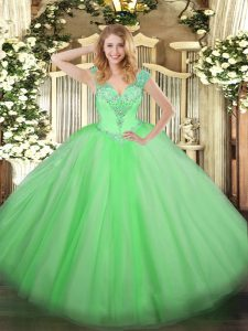 Admirable Floor Length Sweet 16 Dresses V-neck Sleeveless Lace Up