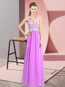 Unique Sleeveless Chiffon Floor Length Zipper Prom Party Dress in Lilac with Lace