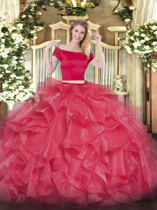 Decent Floor Length Two Pieces Short Sleeves Coral Red Quinceanera Dresses Zipper