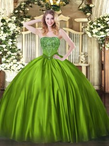 Glamorous Floor Length Ball Gowns Sleeveless Olive Green Ball Gown Prom Dress Lace Up