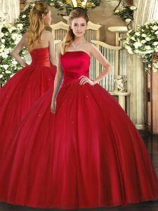 Glorious Strapless Sleeveless Tulle Quince Ball Gowns Ruching Lace Up