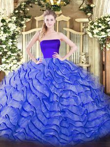Delicate Tulle Sleeveless Quinceanera Dresses Brush Train and Ruffles