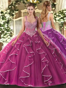 Fuchsia Ball Gowns Tulle Straps Sleeveless Beading Floor Length Lace Up Sweet 16 Dress