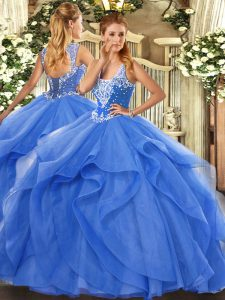 Attractive Floor Length Ball Gowns Sleeveless Blue Ball Gown Prom Dress Lace Up