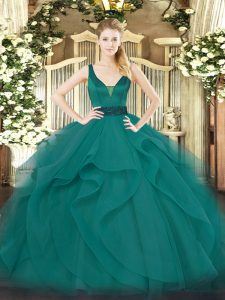 Top Selling Teal Straps Neckline Beading and Ruffles 15 Quinceanera Dress Sleeveless Zipper