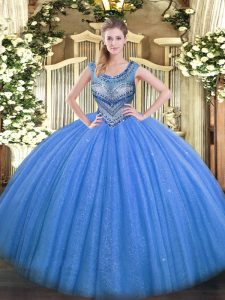 Floor Length Blue Quince Ball Gowns Scoop Sleeveless Lace Up