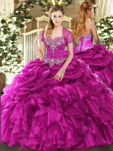 Organza Sleeveless Floor Length 15th Birthday Dress and Beading and Ruffles and Pick Ups