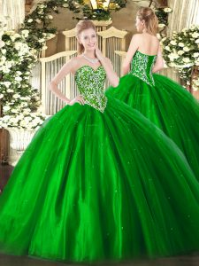 Modest Ball Gowns Quinceanera Dresses Green Sweetheart Tulle Sleeveless Floor Length Lace Up