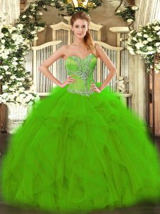 Excellent Sleeveless Organza Floor Length Lace Up Vestidos de Quinceanera in Green with Beading and Ruffles