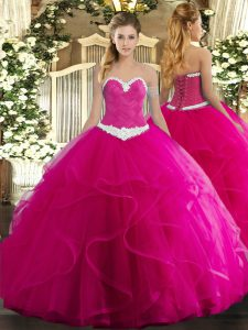 Dramatic Fuchsia Ball Gowns Tulle Sweetheart Sleeveless Appliques and Ruffles Floor Length Lace Up Quinceanera Gown