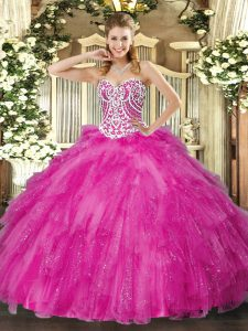 Superior Floor Length Fuchsia Ball Gown Prom Dress Sweetheart Sleeveless Lace Up