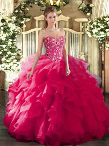 Hot Pink Ball Gowns Embroidery Quinceanera Gown Lace Up Organza and Printed Sleeveless Floor Length