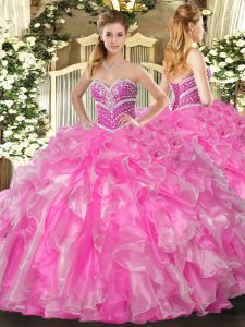 Fabulous Rose Pink Sleeveless Beading and Ruffles Floor Length 15 Quinceanera Dress