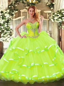 Yellow Green Ball Gowns Beading and Ruffled Layers Quince Ball Gowns Lace Up Organza Sleeveless Floor Length