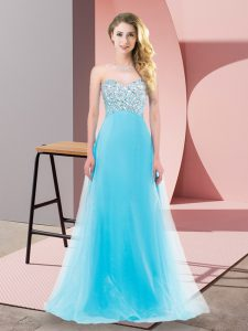 Sophisticated Aqua Blue Tulle Lace Up Homecoming Dress Sleeveless Floor Length Beading