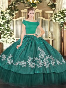 Free and Easy Off The Shoulder Short Sleeves Sweet 16 Dresses Floor Length Embroidery Teal Organza and Taffeta