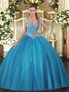 Beading Vestidos de Quinceanera Teal Lace Up Sleeveless Floor Length