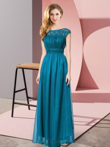 Classical Teal Tulle Zipper Scoop Sleeveless Floor Length Prom Evening Gown Lace