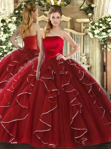 Eye-catching Wine Red Sleeveless Ruffled Layers Floor Length Vestidos de Quinceanera